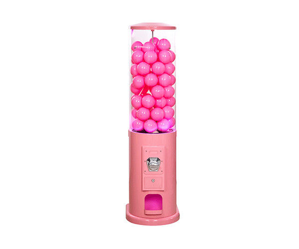 110V-240V Tall Barrel Toy Capsule Vending Machine Pink Color Long Working Life