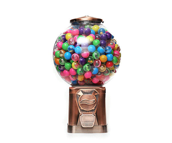 1~6 coins operated  mini 18 inch Finished Chrome Gumball vending machine