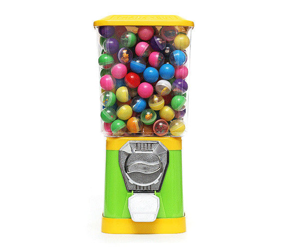 Plastic Ball Vending Yellow and blue color candy quarter vending machines