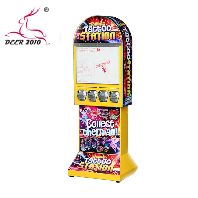 Yellow Children's Toy Vending Machines Multipurpose For Tattoo Sticker